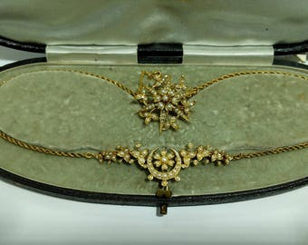 15ct Victorain Seed Pearl Necklace/Brooch