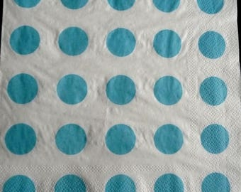 White napkin with blue dots