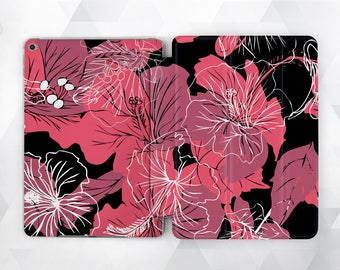 iPad case flower iPad black case iPad floral case iPad peonies case iPad pink flowers iPad Pro 9 7 case iPad case 10 5 iPad Air 2 case iPad