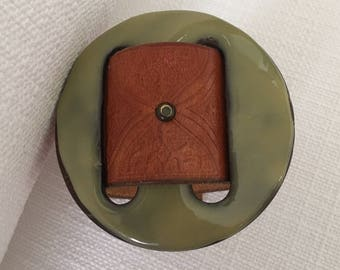 Women's Leather Cuff Bracelet with Sage Button
