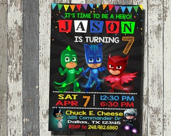 Pj Mask Invitation, Pj Mask Birthday Party, Pj Mask Birthday Invitation, Personalized, Digital File
