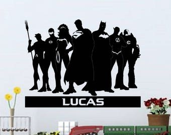 Justice League Personalized Vinyl Wall Decal
