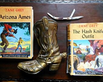 Zane Grey Books Vintage Cowboy Collection, Brass Boot, Old Timer Pocket Knife - Western Set, Father's Day