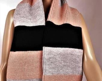 scarf wool scarf, scarf, winter, warm scarf, lined, wrap scarf pink scarf, wool scarf, knitted scarf