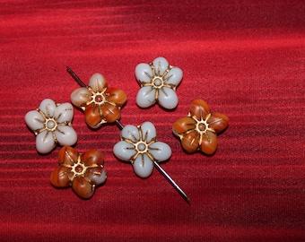 Flowers lovely 14x13 mm matte / capri (6pcs)