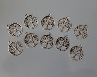 10 tree of life charms - Locket - 18 mm - silver jewelry