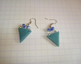 Blue Green geometric triangle earrings