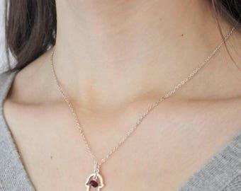 Hamsa February Birthstone Charm Necklace - February Birthday - Amethyst -  Charm - Valentines