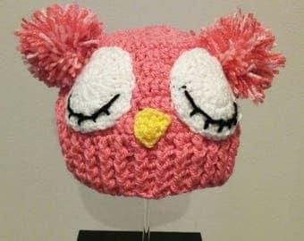 Sleepy crochet OWL Hat handmade