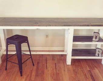 Rustic, Farmhouse Kitchen Island, Bar, Eat In with Shelving, Storage
