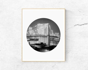 Brooklyn Bridge Print, New York Print, Night Brooklyn Bridge Print, Black and White Print, Bridge Print, Architecture Print, Bridge Art