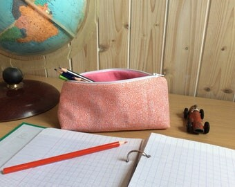 School Kit, pencil case, storage, case red fabric, back to school