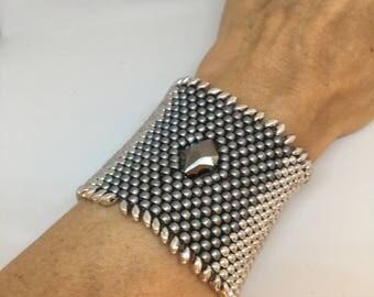 Metallic grey beaded, costume jewelry metal effect set with Swarovski crystals, cuff luquid metal, unique jewelry