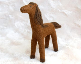 Needle Felted Horse Wool Horse Natural Wool Toy Needle felted Animal. Needle Felted Pony. Soft Sculpture Horse. Waldorf Toy Farm animal