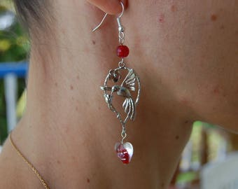 Tropical Hummingbird and Glass Heart Earrings