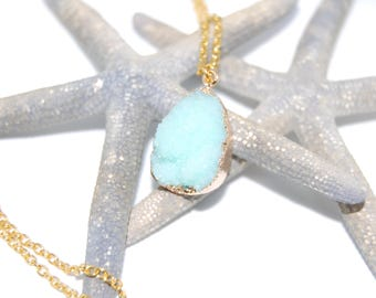 Lake blue natural stone pendant necklace, gold plated chain