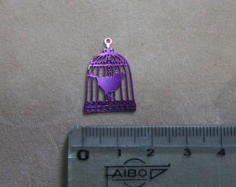 Print - Bird cage charm has bird fine purple metal (x 2)