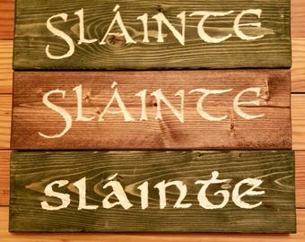 Slainte Hand Carved Reclaimed Wood Sign Irish Pub Gaelic Cheers
