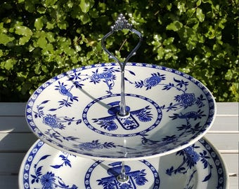 Delft two tier cake stand