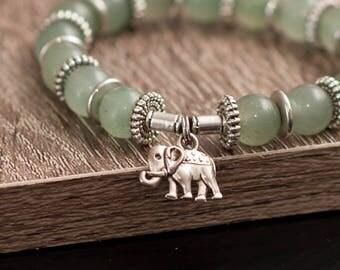 Green Adventurine Elephant Bracelet