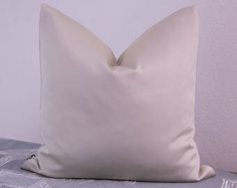 Satin pillow cover in cream, 50 x 50 cm
