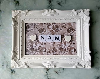 Nan Scrabble Art Picture, White Ornate Moulded Frame 6x4, Wall Art, Scrabble Tiles, Mother's Day Gift