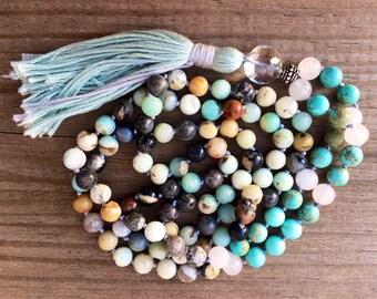 Hand knotted amazonite mala, meditation beads, 108 beads, yoga jewelry, tassel necklace