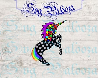Rainbow unicorn svg and dxf for cutting, rainbow unicorn png for printing, unique design svg for cricut, silhouette, cameo, design space