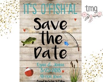 Save the Date Fishing Theme, Save the Dates, Wedding, Fishing Theme, Engagement, Digital File, Printable Invites