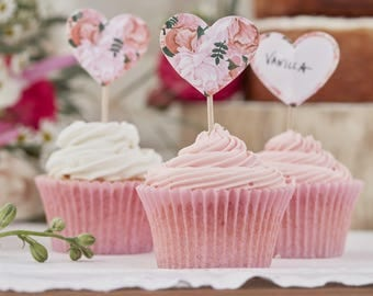 Boho Floral Cake Toppers, Wedding Cupcake Toppers, Baby Shower Topper, Heart Shaped Cupcake Topper, Birthday Party Cupcake Toppers, 10 Pack