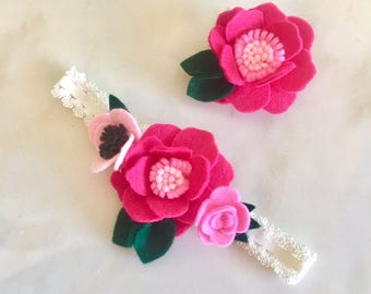 Magenta and Pink Felt Flower Hair Accessories  Sister Set