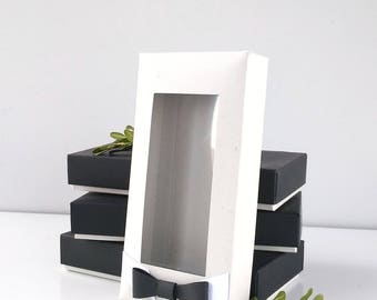 Box with lid, packaging, box with window, box for bowtie - 50pcs