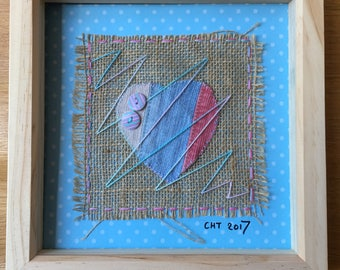 Upcycled textile & button hand stitched heart design - framed