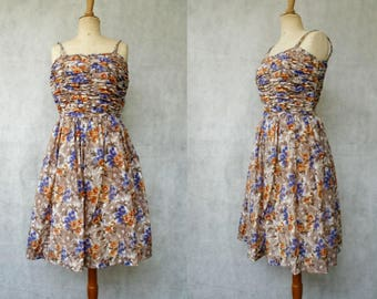 1940s Rouged Floral Dress