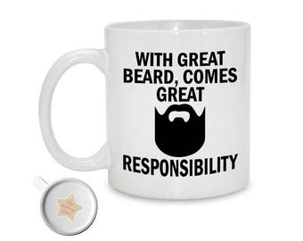 With Great Beard Comes Great Responsibility | Beard Gift For Him | Funny Mug | Gift For Dad | Gift For Husband