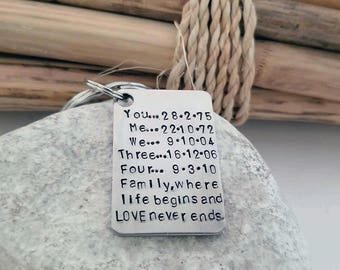 Anniversary Key Chain, Gift for Husband, Men's Personalized, Gift for Anniversary, Iron Anniversary, Sixth Anniversary, Silver Keychain