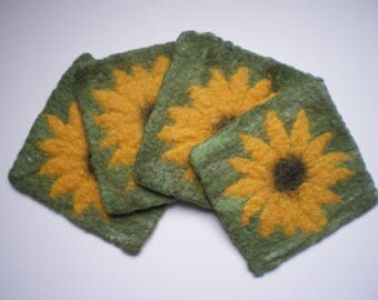 Sunflowers - set of 4 felt coasters, handmade, wet felted