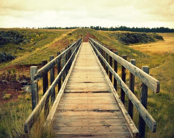 Bridge photography, digital download, printable photo, wall art, old bridge, meadow photo, rustic photo, rustic decor