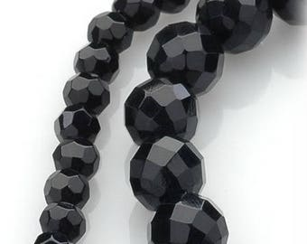 BAW06 size 6mm, 10mm faceted round black agate beads