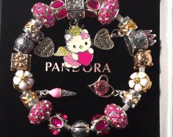 Authentic Pandora 925 Sterling Silver Hello Kitty Bracelet Birthday Princesse