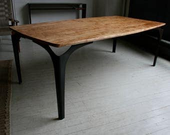 Rounded Dining Table in Curly Ambrosia Maple, salvaged,  with Blackened Steel Legs