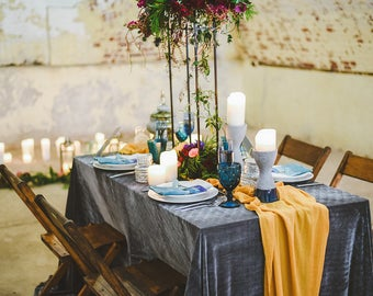 Gauze Table Runner | Mustard Yellow Table Runners Weddings | Centerpieces Runner | Cheesecloth Runner | Hand Dyed runner |  sheer runner