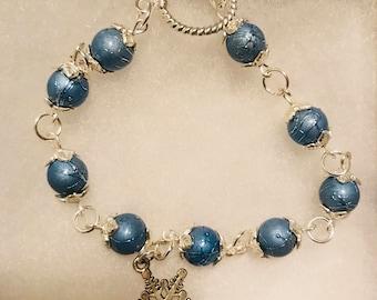 Sterling Silver Snowflake Beaded Charm Bracelet