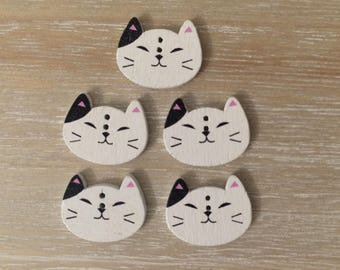 Meow, Meow, Meow, Cat buttons, 5 cute cat wooden buttons, two holes