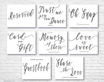 Printable Wedding Sign, Modern Wedding Signs Bundle , Instant Download Wedding Signs , Guestbook , Love is Sweet , Signs Set, Signs05