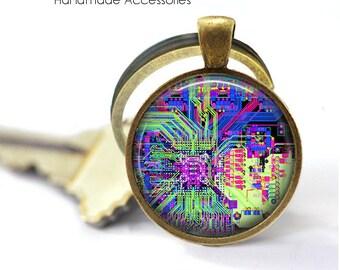 CIRCUIT BOARD Key Ring • Computer Motherboard • Electrician • Engineer • Geek • Nerd • Gift Under 20 • Made in Australia (K481)