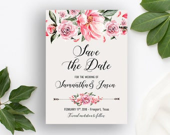 Save the Date Printable Floral Digital Wedding Vintage Romantic Pink Flowers Watercolor Bohemian Save the Date Wedding Bridal Invite WS-028