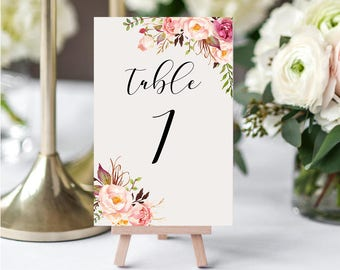 Wedding Table Numbers,Printable Table Numbers,Blush Pink, Peach, Table Numbers,Table Numbers Wedding,1-20,4x6,PDF Instant Download TN-022