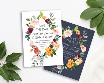 Save the Date Printable Floral Digital Wedding Marsala Burgundy Coral Blush Watercolor Bohemian Save the Date Invite WS-036