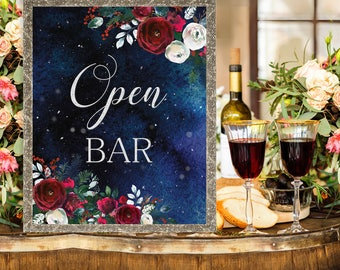 Open bar Wedding Sign Christmas Winter New Year Snow White Red Burgundy Floral Wedding Printable Decor Gifts Poster Sign 8x10 WS-050